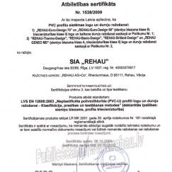 Rehau atbilstības sertifikāts